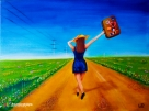 The Happy Traveler - acrylic painting by Wendy-lee Pinas @ Soulvisiondesigns